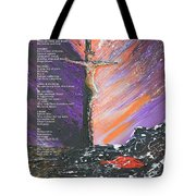 The Man On The Cross With Poem Tote Bag