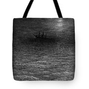 The Marooned Ship In A Moonlit Sea Tote Bag