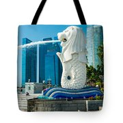 The Merlion  Fountain - Singapore. Tote Bag