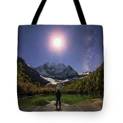 The Milky Way And Waxing Cresent Moon Tote Bag
