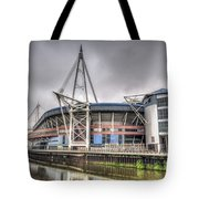 The Millennium Stadium With Flag Tote Bag