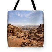 The Monastery And Landscape At Petra In Jordan Tote Bag by Robert Preston