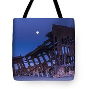 The Moon Sets Over The Wreck Tote Bag