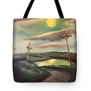 The Moon With Three Crosses Tote Bag