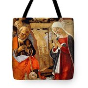 The Nativity With The Annunciation To The Shepherds In The Distance Tote Bag