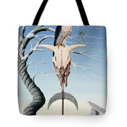 The Neolithic Totem Oil On Canvas Tote Bag