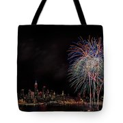 The New York City Skyline Sparkles Tote Bag by Susan Candelario