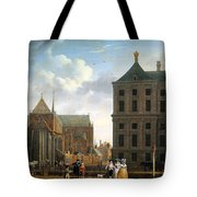 The Nieuwe Kerk And The Rear Of The Town Hall In Amsterdam  Tote Bag by Isaak Ouwater