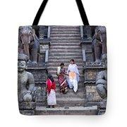 The Nyatapola Temple At Bhaktapur In Nepal Tote Bag