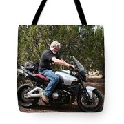 The Old Man On The Motorcycle Tote Bag