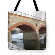 The Old Railway Bridge In Silute. Lithuania. Winter Tote Bag