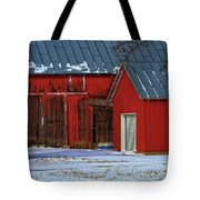 The Old Red Barn In Winter Tote Bag