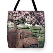 The Old Truck And The Crab Apple Tote Bag