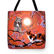 The Owl And The Pussycat In Peach Blossoms Tote Bag