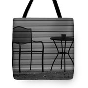 The Patio Chairs In Black And White Tote Bag