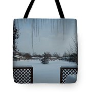 The Patio In Winter Tote Bag