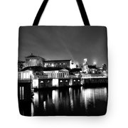 The Philadelphia Waterworks In Black And White Tote Bag by Bill Cannon
