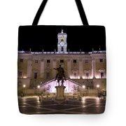 The Piazza Del Campidoglio At Night Tote Bag