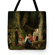 The Pilgrims From The Abbey Of St. Odile Oil On Canvas Tote Bag