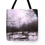 The Pink Winter Light On The Mountain Top Tote Bag