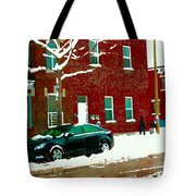 The Point Pointe St Charles Snowy Walk Past Red Brick House Winter City Scene Carole Spandau Tote Bag