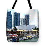The Port Of Miami At Bayside Tote Bag