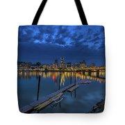 The Portland Oregon Waterfront Blue Hour Tote Bag