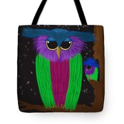 The Prismatic Crested Owl Tote Bag