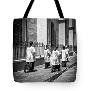 The Procession - Black And White Tote Bag