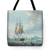 The Prometheus And The Melpomene In The Gulf Of Riga Tote Bag by Thomas Whitcombe