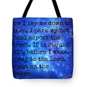 The Race Car Prayer Tote Bag
