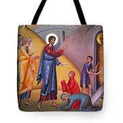 the raising of Lazarus from the dead Tote Bag
