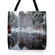 Red Boathouse On Beaver Brook Tote Bag