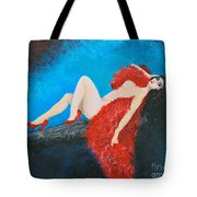 The Red Feather Boa Tote Bag