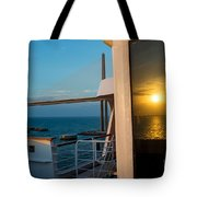 The Reflection Of A Crossing Gold To Blue Tote Bag
