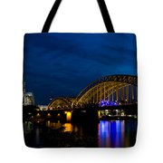 The Rhine Rail Bridge And Cathedral Of Cologne Tote Bag