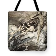 The Rhinemaidens Obtain Possession Of The Ring And Bear It Off In Triumph Tote Bag by Arthur Rackham