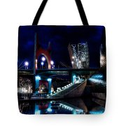The Riverside Pool Of The Guggenheim Museum In Bilbao Spain Tote Bag