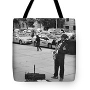 The Saxman In Black And White Tote Bag