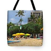 The Scene At Waikiki Beach Tote Bag
