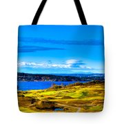 The Scenic Chambers Bay Golf Course Iv - Location Of The 2015 U.s. Open Tournament Tote Bag by David Patterson