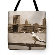 The Seagull Of The Brooklyn Bridge Vintage Look Tote Bag