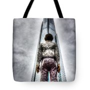 The Shard And Man Statue Tote Bag