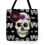 The Skull Is In Love With Cupidos Tote Bag