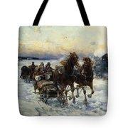 The Sleigh Ride Tote Bag by Alfred von Wierusz Kowalski