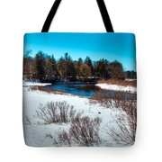 The Snowy Moose River - Old Forge New York Tote Bag