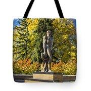 The Spartan Statue In Autumn Tote Bag