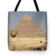 The Sphinx Guarding The Pyramid Tote Bag