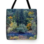 The Spokane River In The Fall Colors Tote Bag