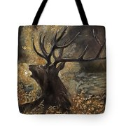 the Stag sitting in the grass oil painting Tote Bag